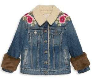 Gucci Little Girl's& Girl's Embroidered Faux-Fur Denim Jacket