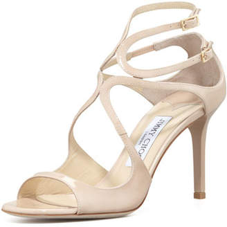 Jimmy Choo Ivette Strappy Patent Sandals, Nude