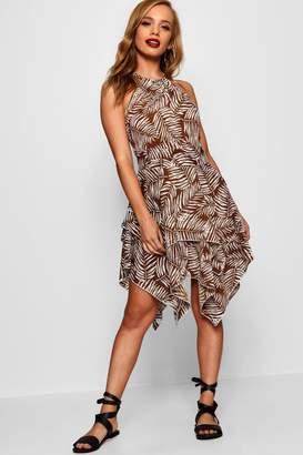 boohoo Petite Tribal Print Hanky Hem Woven Dress