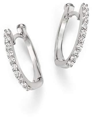 Roberto Coin 18K White Gold Small Diamond Hoop Earrings