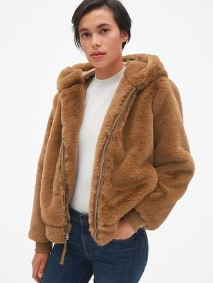 Gap Hooded Faux-Fur Jacket