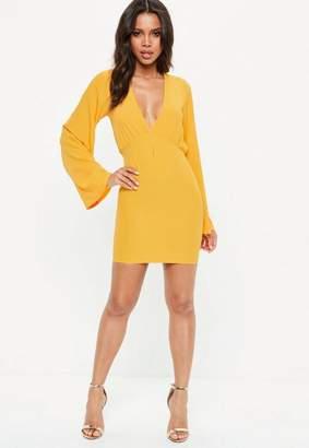 Missguided Yellow Plunge Kimono Sleeve Bodycon Mini Dress