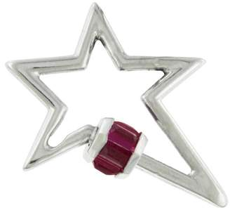Marla Aaron Baguette Ruby Star Lock - White Gold