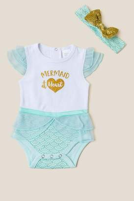 Baby Aspen My First Mermaid Outfit with Headband - White
