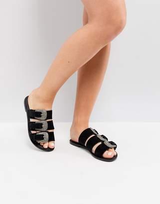 Park Lane Suede Western Flat Sandals