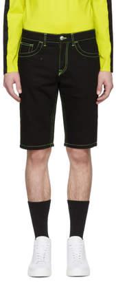 Versus Black Fluorescent Stitch Denim Shorts