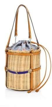 Gucci Cestino Straw Small Bucket Shoulder Bag
