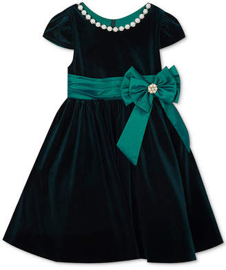 Rare Editions Baby Girls Embellished Velvet Dress