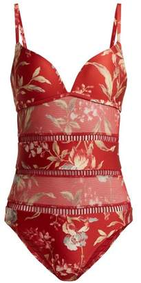 Zimmermann Corsair Floral Print Contrast Panel Swimsuit - Womens - Red Multi