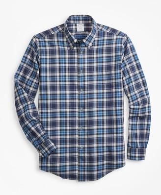 Brooks Brothers Regent Fit Blue Plaid Flannel Sport Shirt