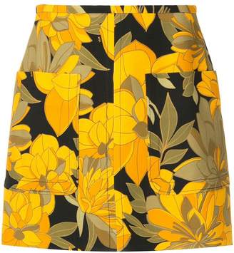 No.21 fitted floral print skirt