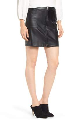 David Lerner Zip Front Faux Leather Miniskirt