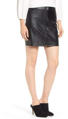 David Lerner Zip Front Faux Leather Miniskirt