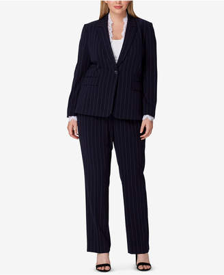 Tahari ASL Plus Size Lace-Trim Pinstriped Pantsuit
