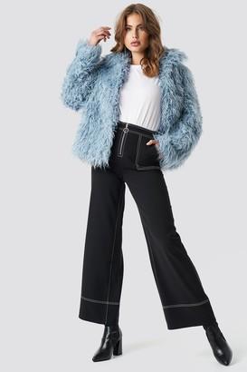 NA-KD Faux Fur Short Jacket Black