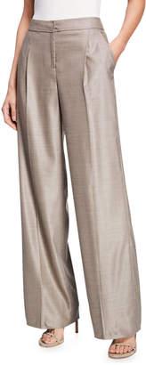 St. John Stretch Birdseye Wide-Leg Pleated Trousers