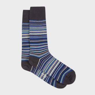 Men's Sky Blue Signature Stripe Socks $35 thestylecure.com