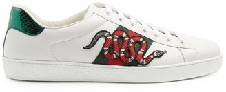 Gucci New Ace Low Top Leather Trainers - Mens - White Multi