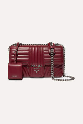 Prada Diagramme Medium Quilted Leather Shoulder Bag - Burgundy