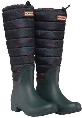 Hunter Womens Original Quilted Leg Wave Print Wellington Boots Ocean