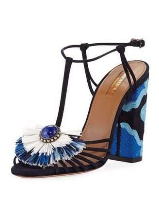 Aquazzura Samba Raffia T-Strap 105mm Sandal, Blue $925 thestylecure.com