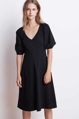 Velvet by Graham & Spencer IGNACIA STRUCTURED COTTON V-NECK DRESS