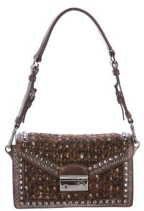 pradaPrada Embellished Bouclé Sound Bag