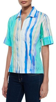 Finley Watercolor-Print Short-Sleeve Tunic $180 thestylecure.com
