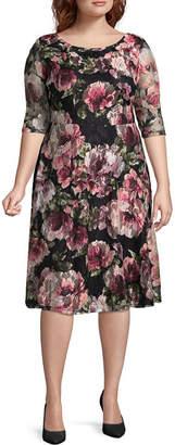 Melrose 3/4 Sleeve Floral Fit & Flare Dress - Plus