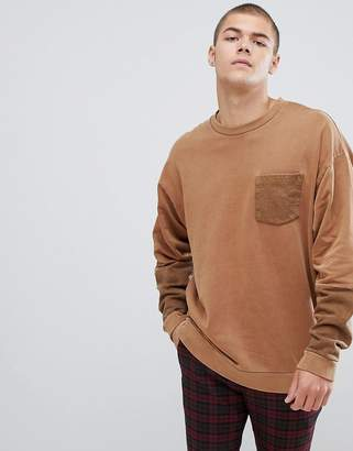 Asos Design DESIGN oversized crew in washed yellow