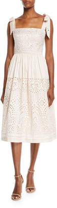 Monique Lhuillier Bow-Strap Eyelet-Embroidered Taffeta Dress