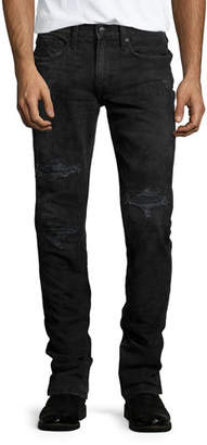Joe's Jeans Brenner Slim-Fit Distressed Jeans, Black $225 thestylecure.com