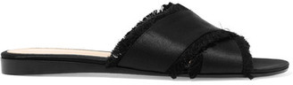 Gianvito Rossi - Frayed Satin Slides - Black $645 thestylecure.com