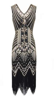 277768848c tutu.vivi Women s 1920s V Neck Sequins Fringed Gatsby Theme Flapper Dress  for Prom Gold