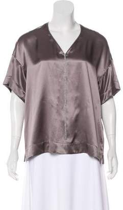Lafayette 148 Silk Metallic-Accented Top
