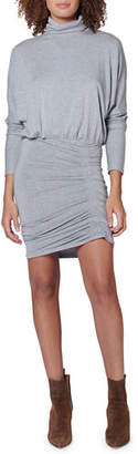 Veronica Beard Manda Long-Sleeve Ruched Turtleneck Short Dress