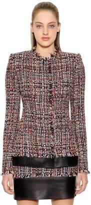 Alexander McQueen Light Tweed Jacket W/ Leather Details