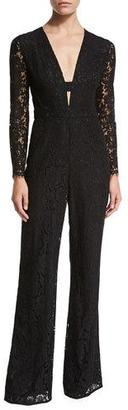 Diane von Furstenberg Kyara Long-Sleeve Lace Jumpsuit, Black $598 thestylecure.com
