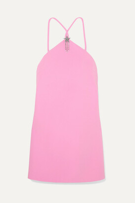 Miu Miu Embellished Halterneck Cady Mini Dress - Pink