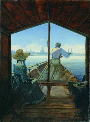 Gustav Spiffing Prints Carl Carus - Barge Trip On Elbe - Medium - Semi Gloss - Black Frame