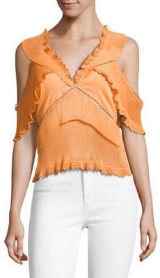 Saylor Marguerite Deep V-Neck Pleated Top