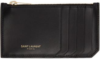 Saint Laurent Black 5 Fragments Zip Card Holder $295 thestylecure.com