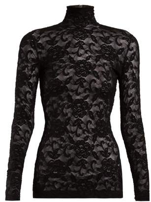 Dolce & Gabbana High Neck Floral Lace Top - Womens - Black