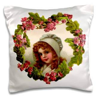 3dRose Heart flower Frame with St. Paddys Girl (Vintage) - Pillow Case, 16 by 16-inch
