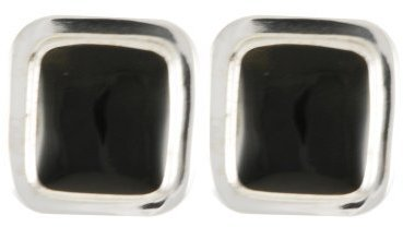 Sterling Silver and Onyx Square Earrings