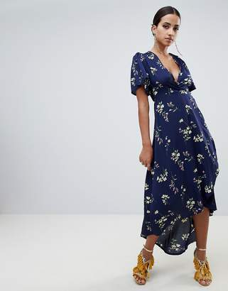 Missguided Floral Wrap Front Midi Dress