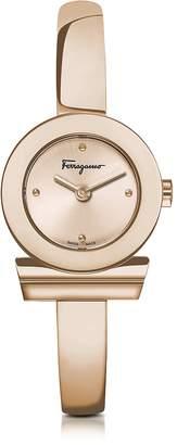 Salvatore Ferragamo Gancino Rose Gold IP Stainless Steel Women's Watch w/Sunray Guilloche' Dial