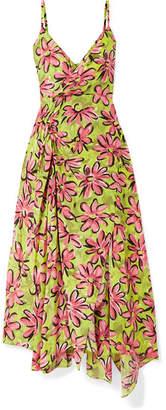 Michael Kors Asymmetric Floral-print Silk Crepe De Chine Midi Dress - Chartreuse