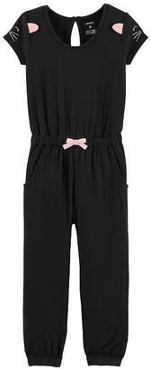Carter's Kitty Shoulder Jumpsuit - Toddler Girls Long Sleeve Jumpsuit - Toddler