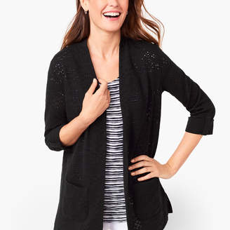 Talbots Diamond Textured Open-Front Cardigan